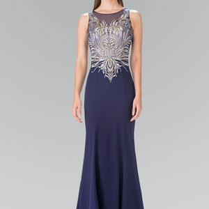 Embroidered Long Dress Beading Details GL2323